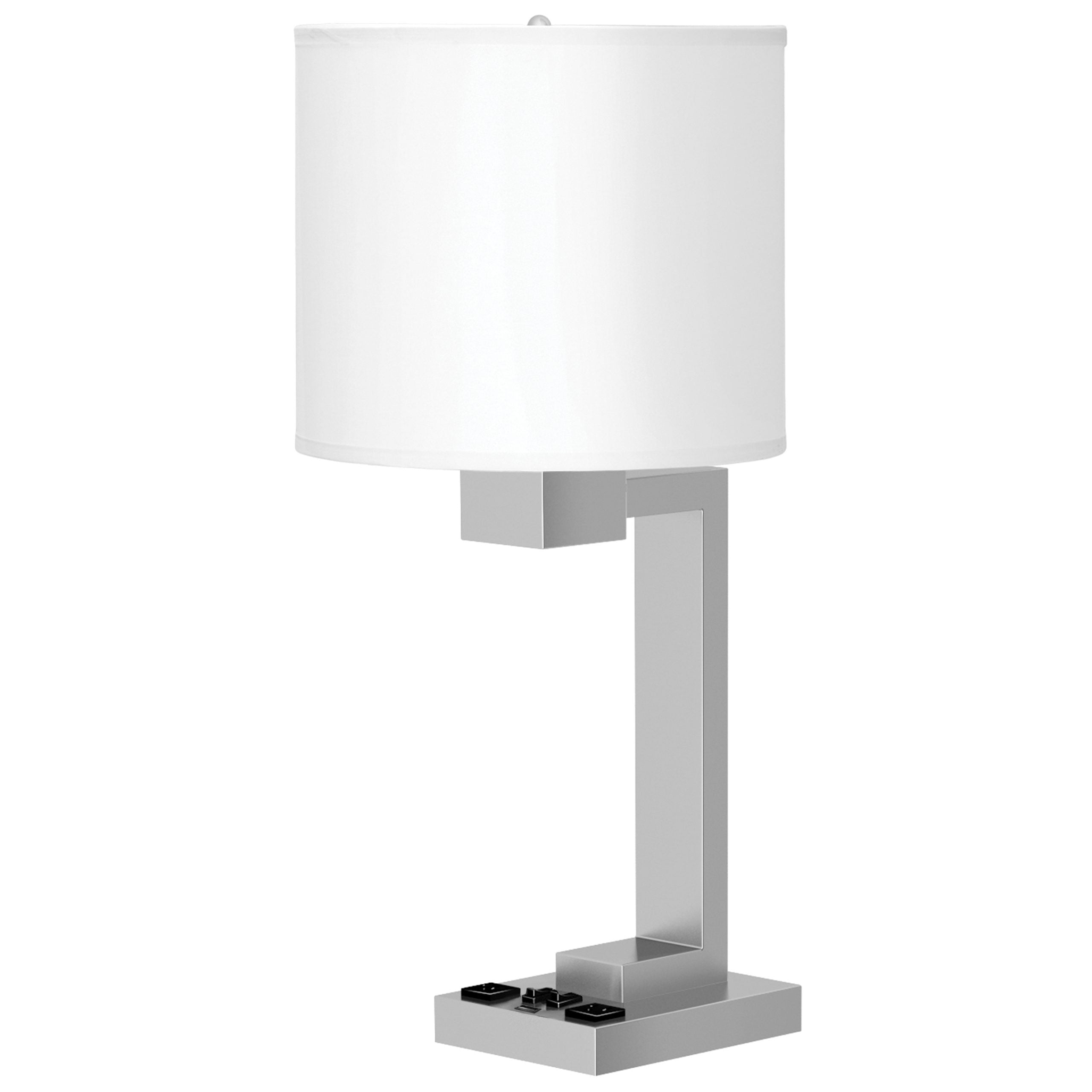 Truly Yours Twin Table Lamp with 2 Outlets & 1 USB