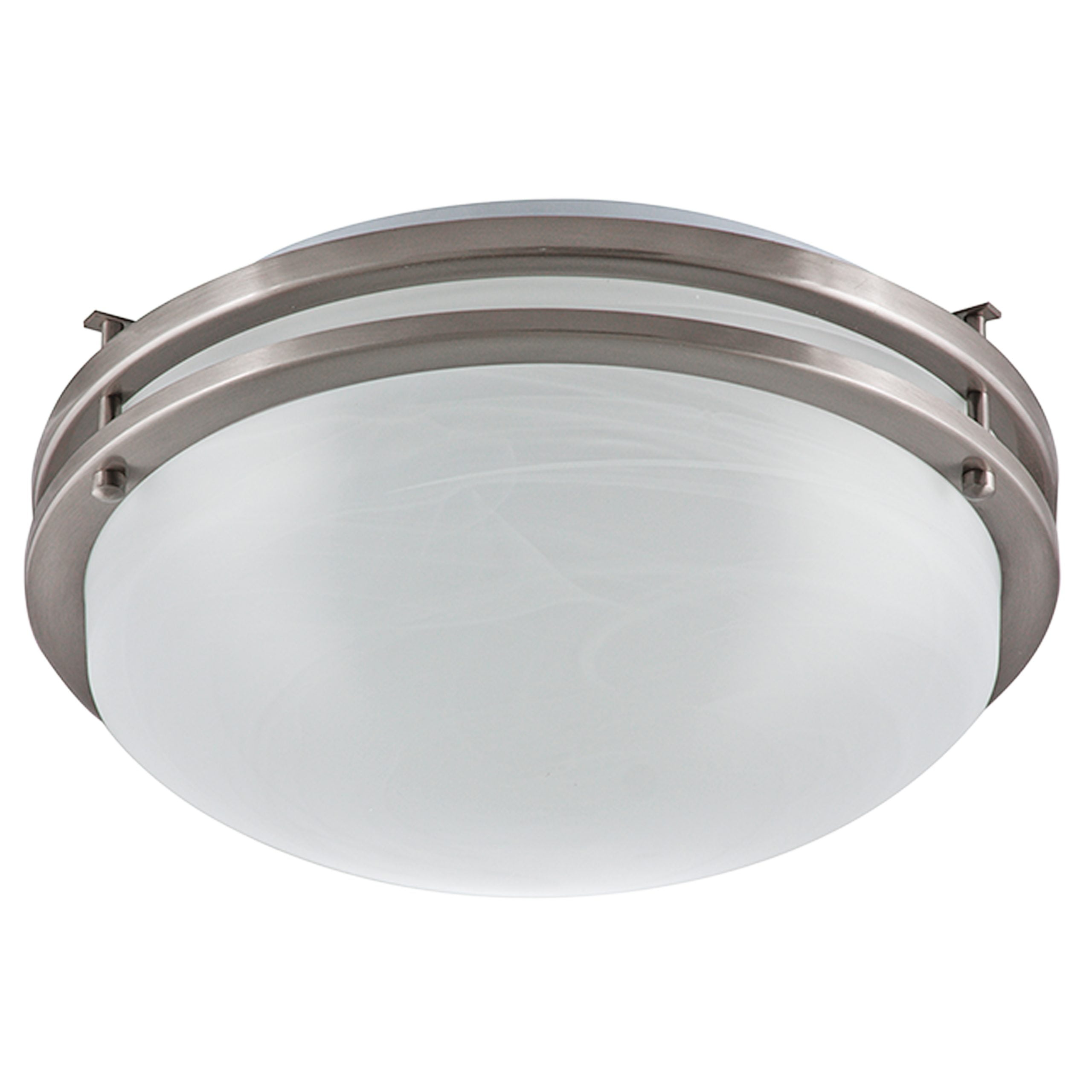 "14.5""W Brushed Nickel Ceiling Light with Frosted Glass Shade"