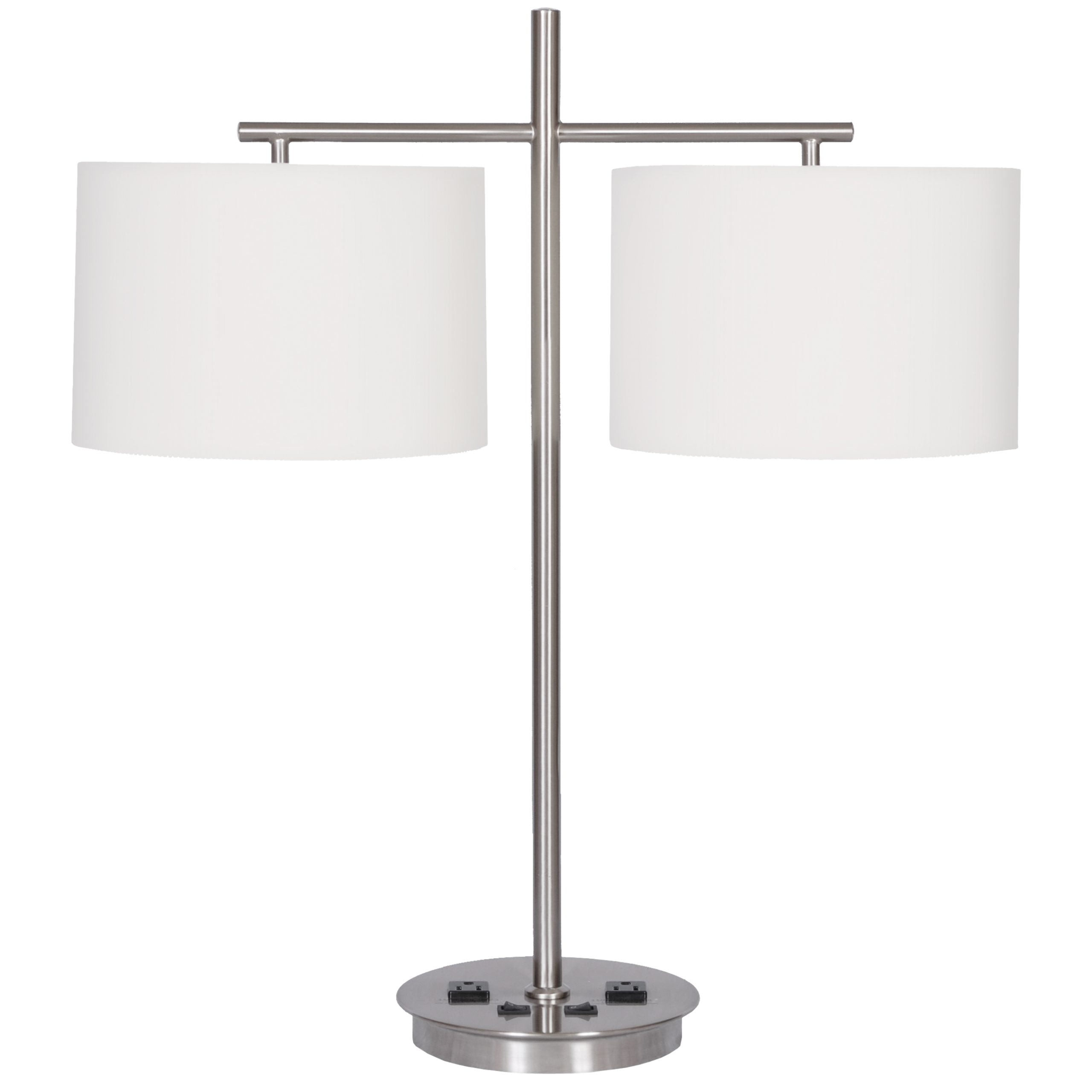 Twin Table Lamp with 2 Outlets
