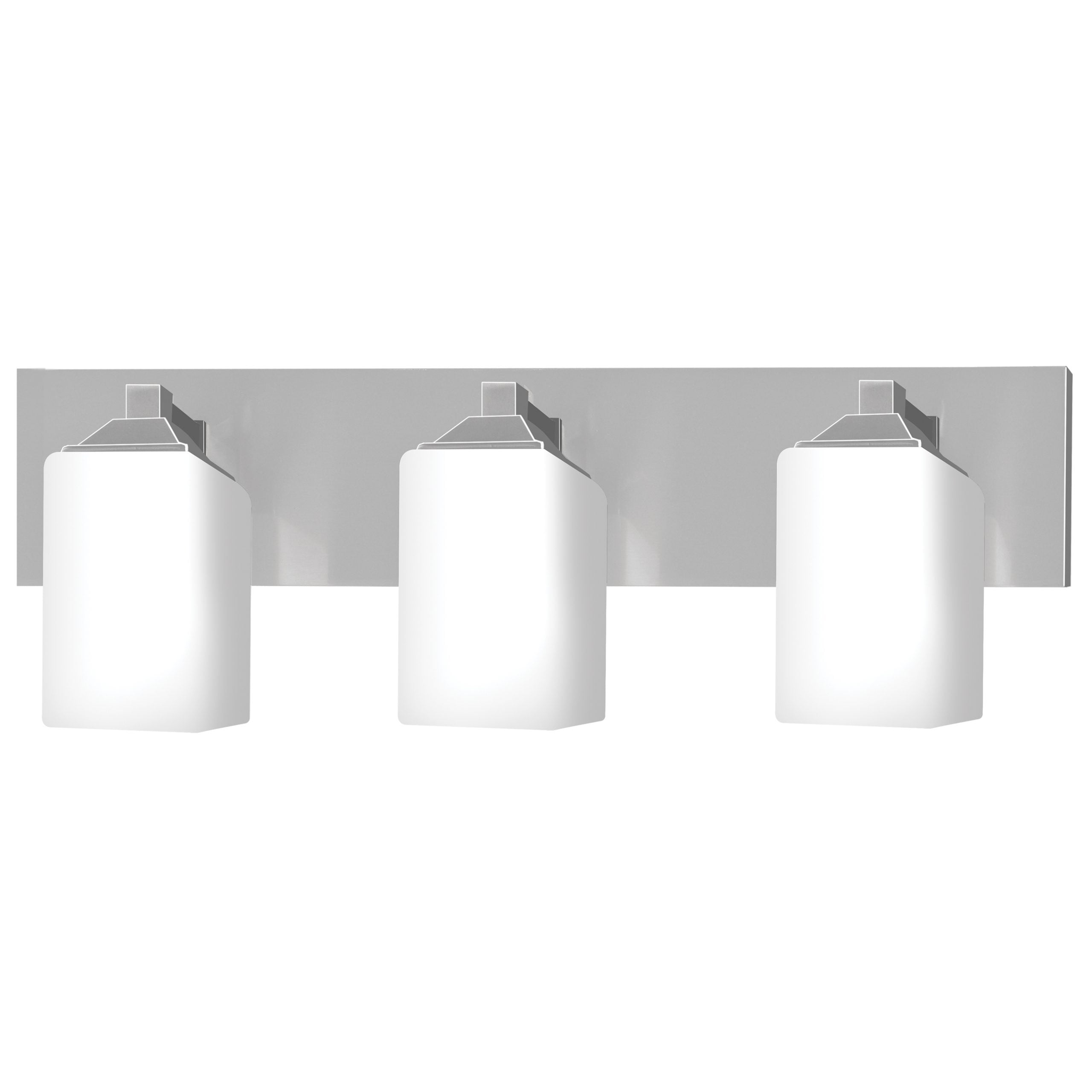 "24""W Brushed Nickel Vanity Light with Frosted Glass Shades"