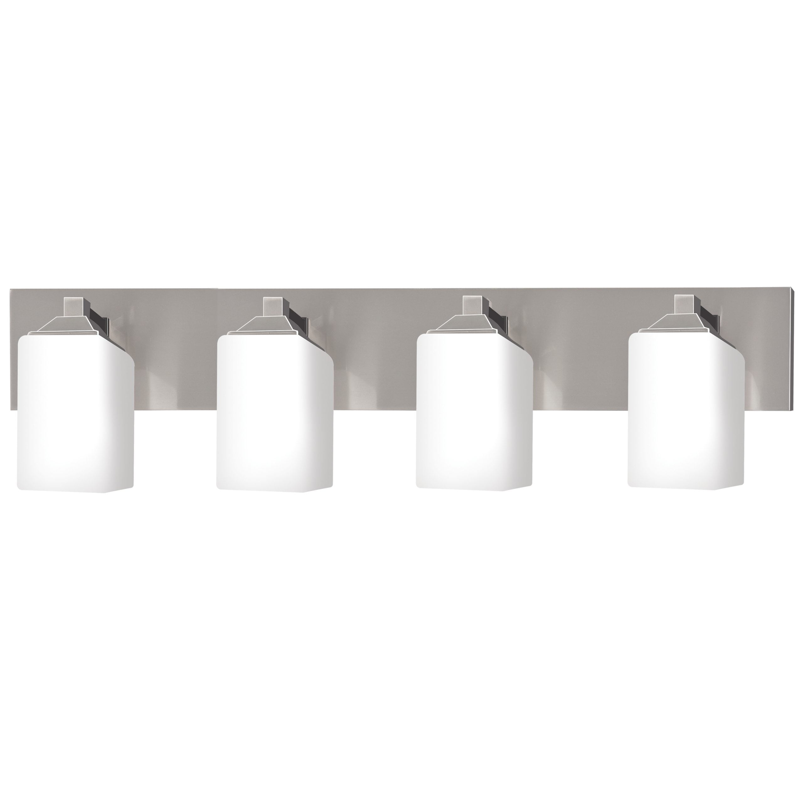 "30""W Brushed Nickel Vanity Light with Frosted Glass Shades"