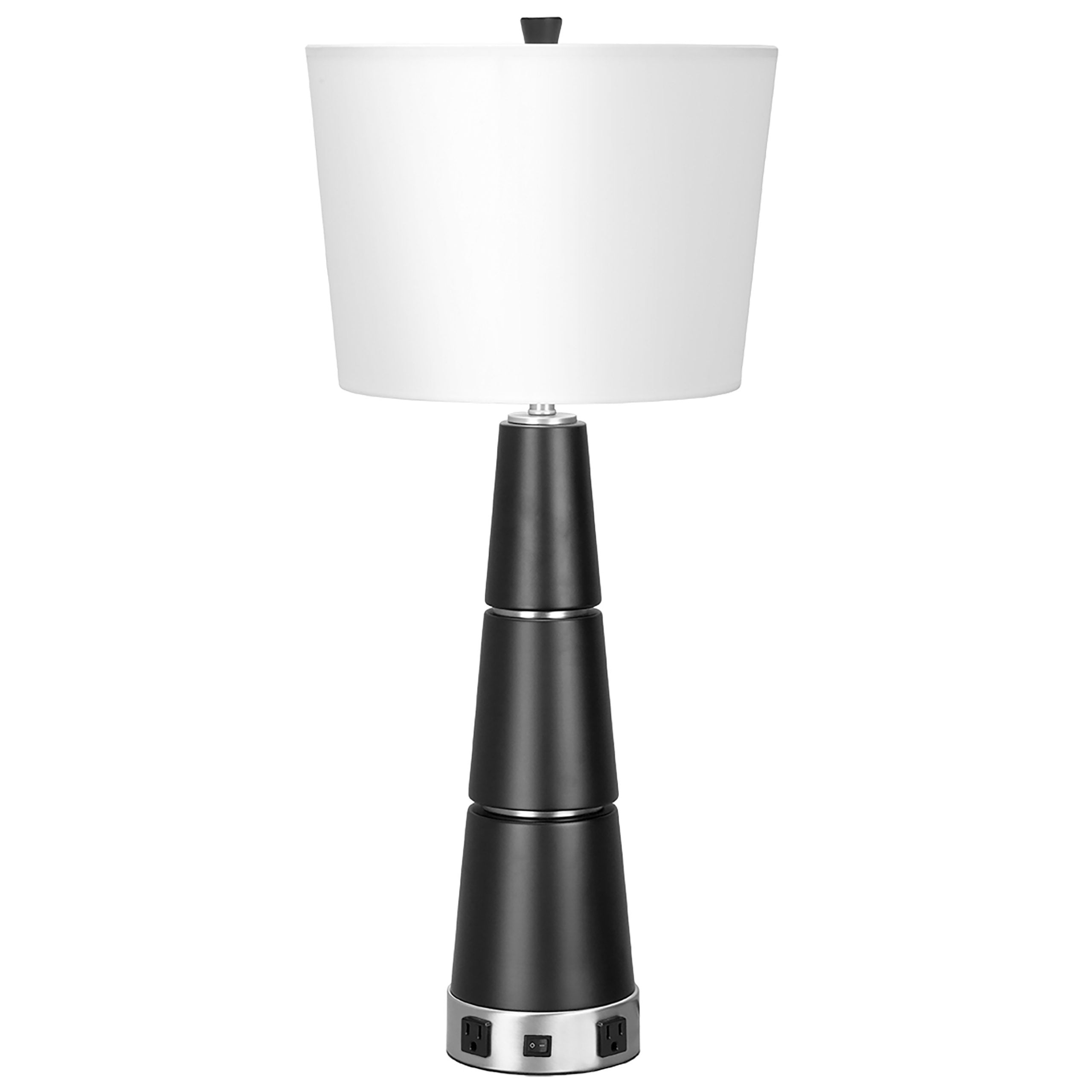 Serenity Single Table Lamp with 2 Outlets