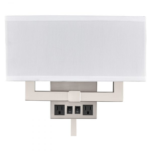 Gatsby Double Wall Lamp with Cord Cover & 2 Outlets