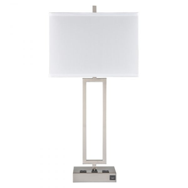 Gatsby Twin Table Lamp with 2 Outlets & 1 USB