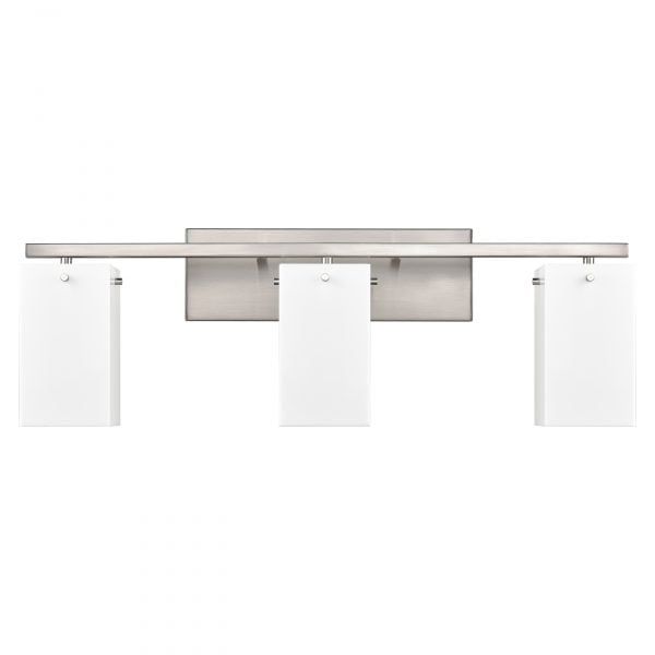 "29""W Brushed Nickel Vanity Light with Frosted Acrylic Shades"