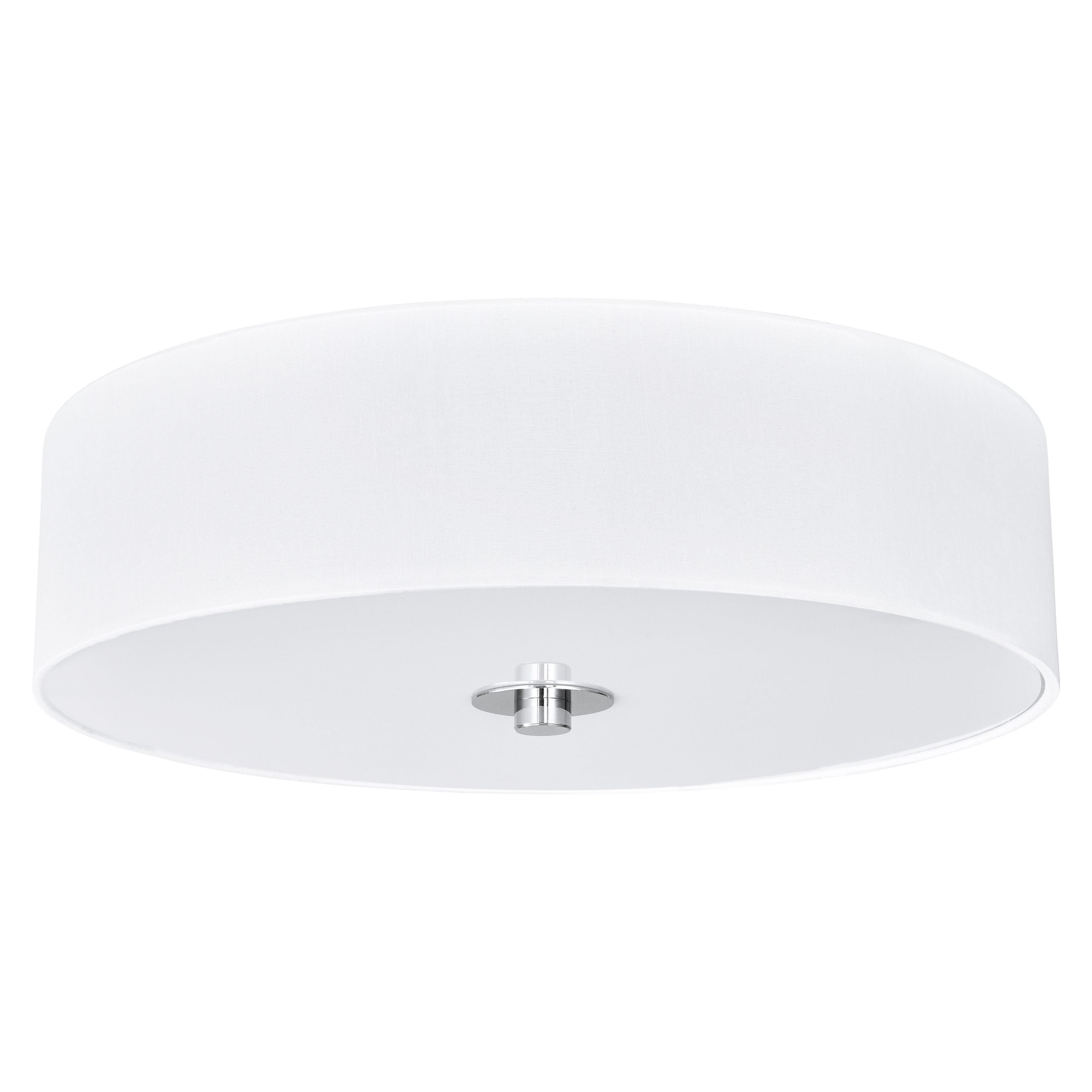 14 W Polished Chrome Ceiling Light With White Linen Shade And Frosted Diffuser Startex