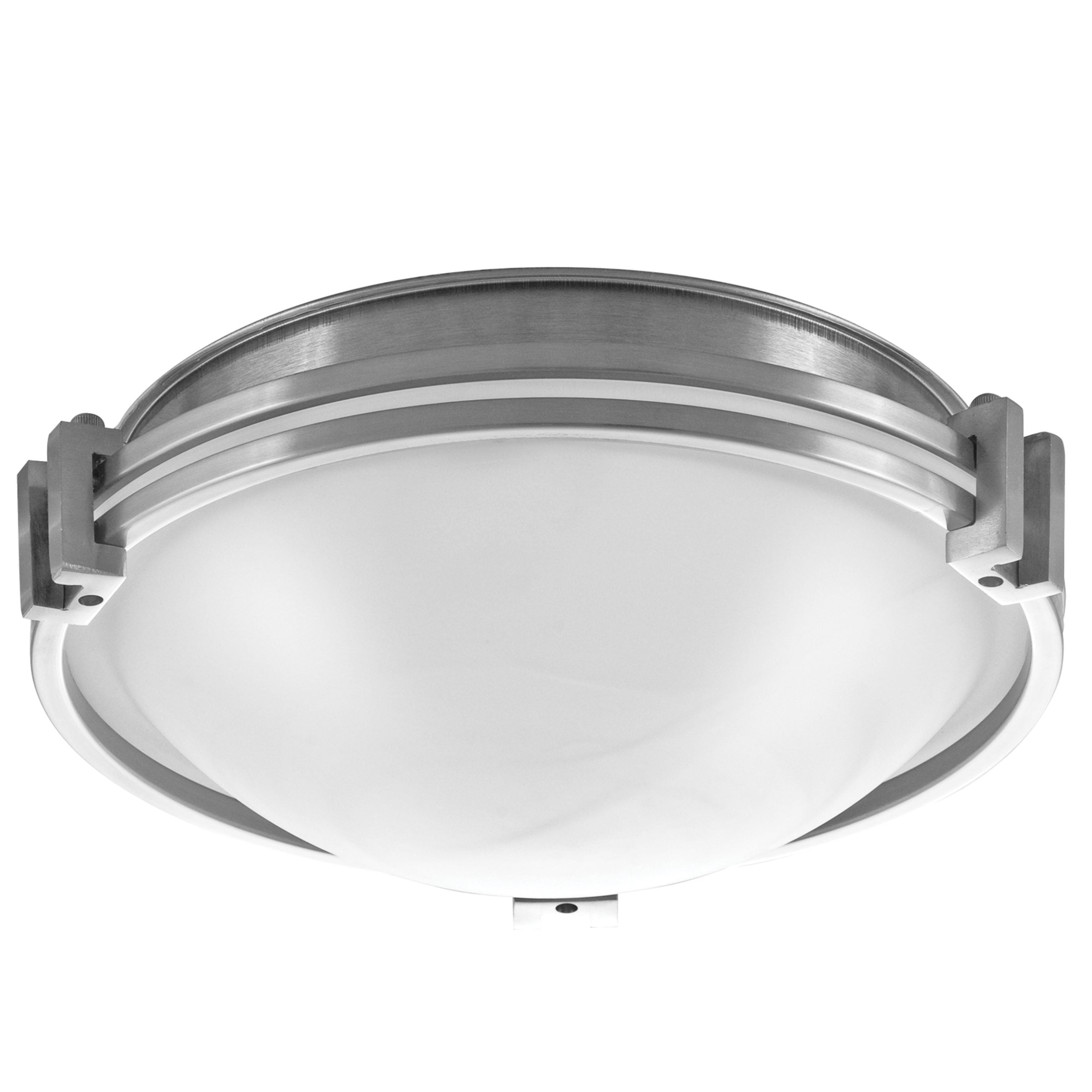 "12""W Brushed Nickel Ceiling Light with Frosted Glass Shade"