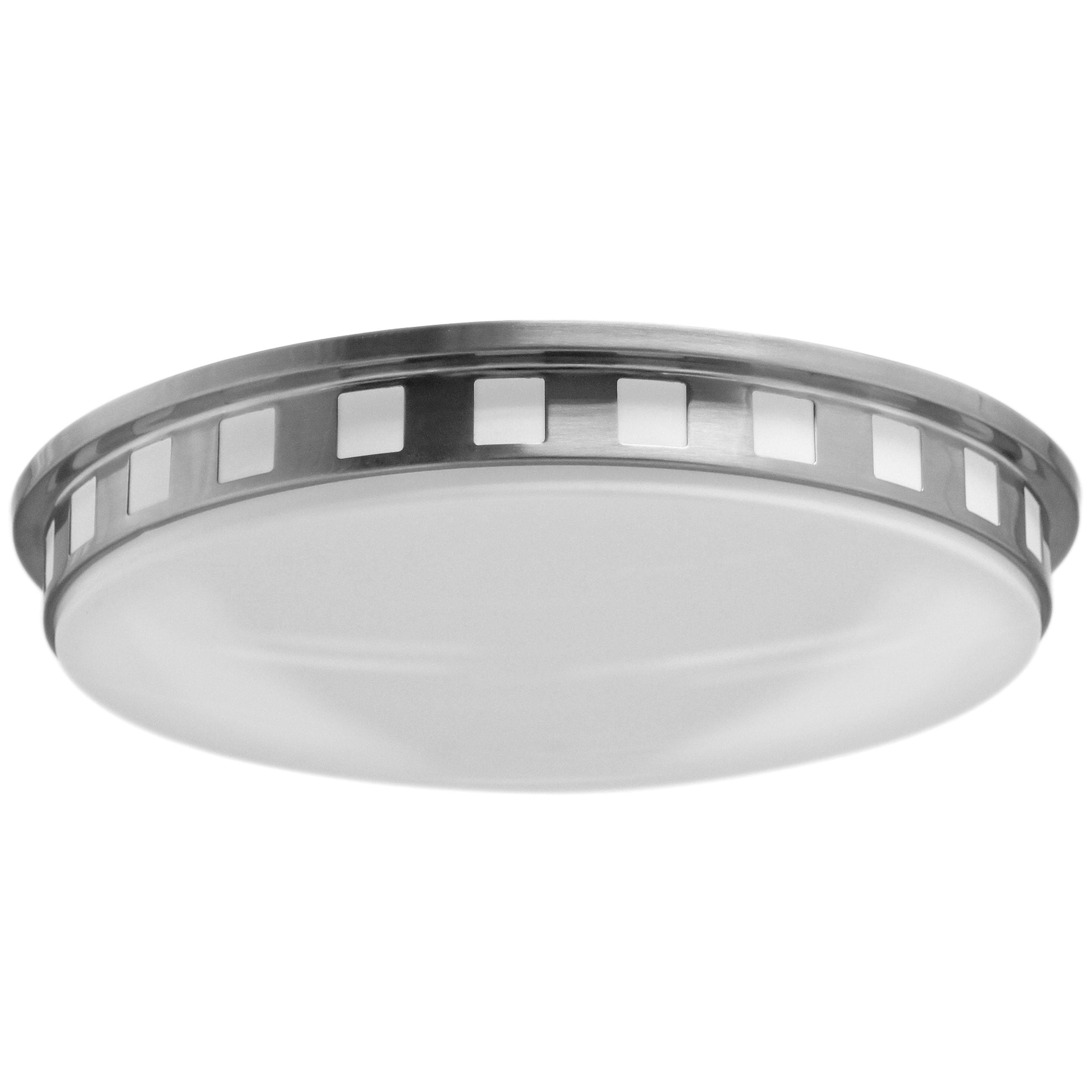 "18""W Brushed Nickel Ceiling Light with Frosted Acrylic Shade"