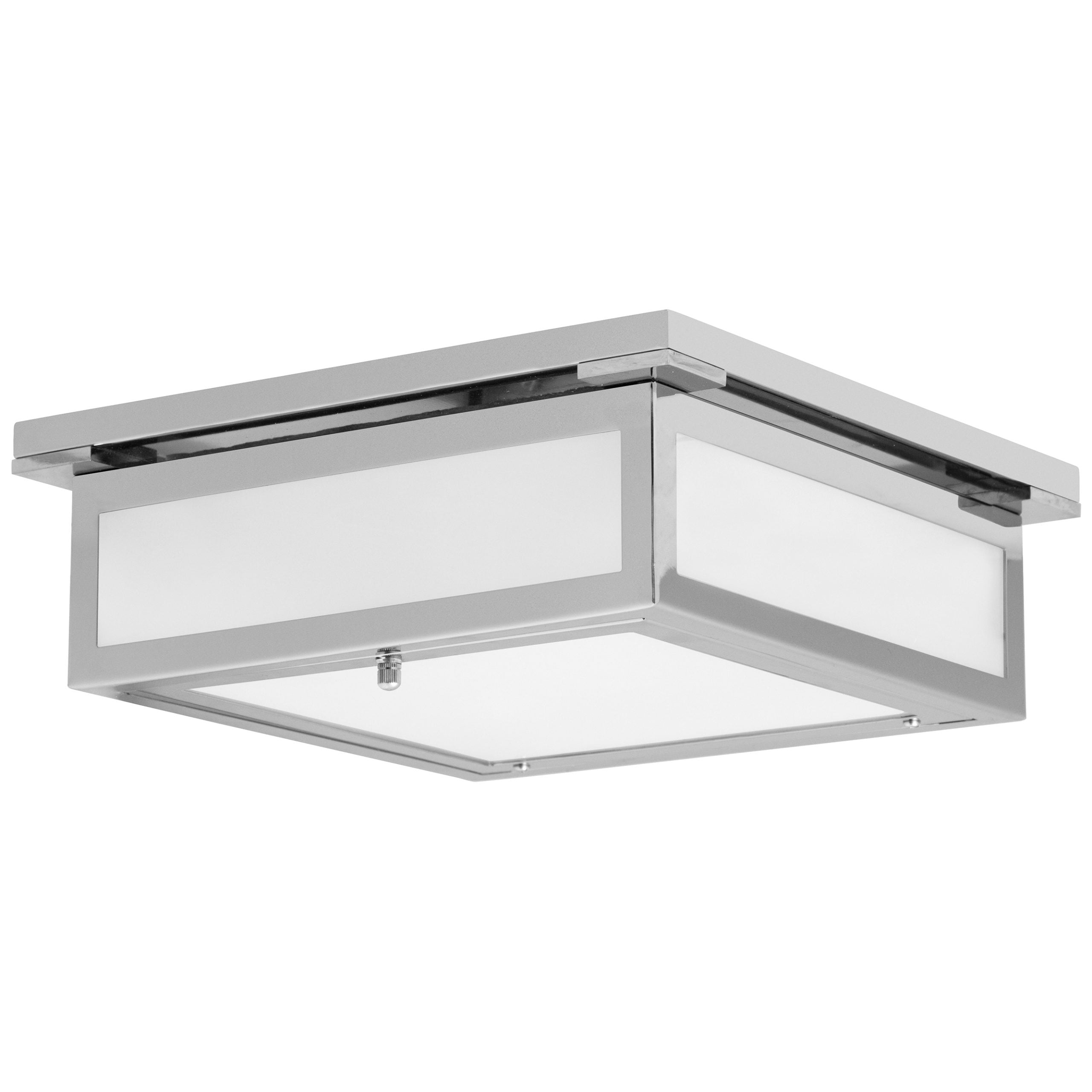 "12""W Polished Chrome Ceiling Light with Frosted Glass Shade"