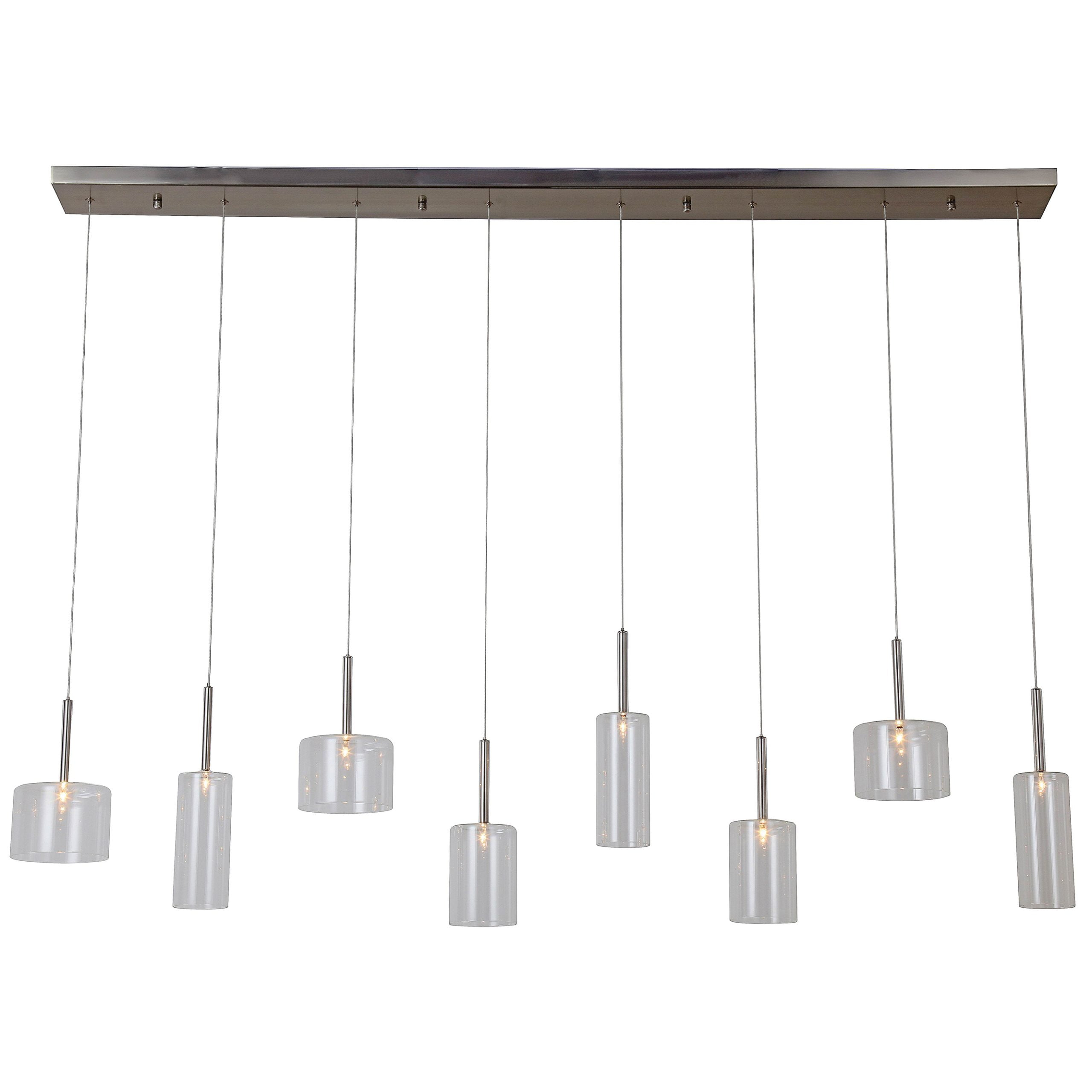 "60""W Satin Nickel Ceiling Fixture with Clear Glass Shades"