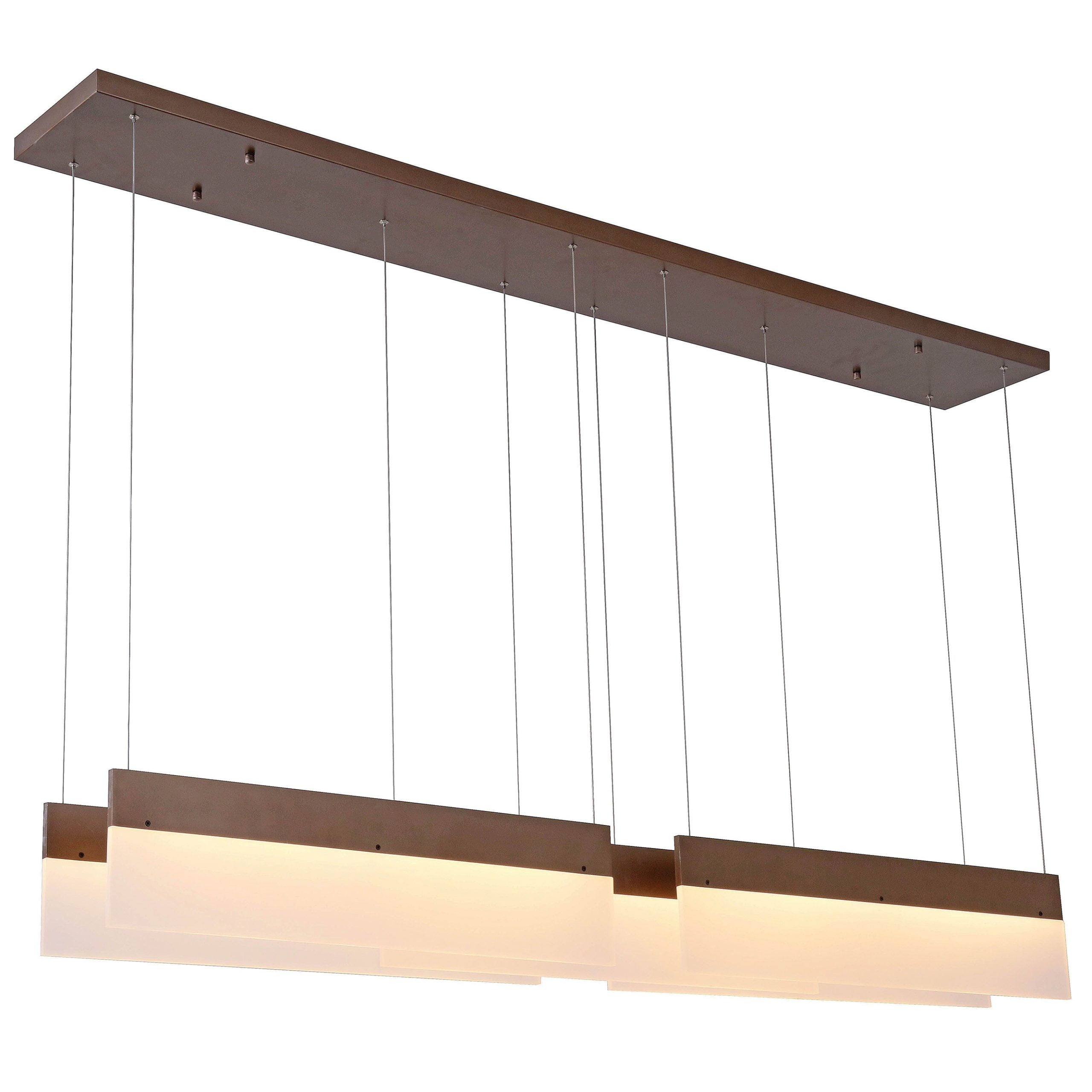 "72""W Dark Bronze Ceiling Fixture with Frosted Acrylic Shades & Integrated LED"