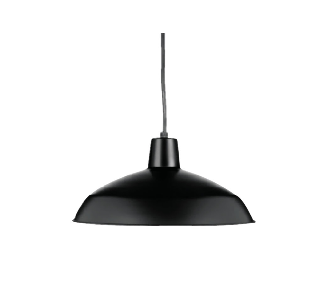 "13""W Matte Black Pendant with Metal Shade"