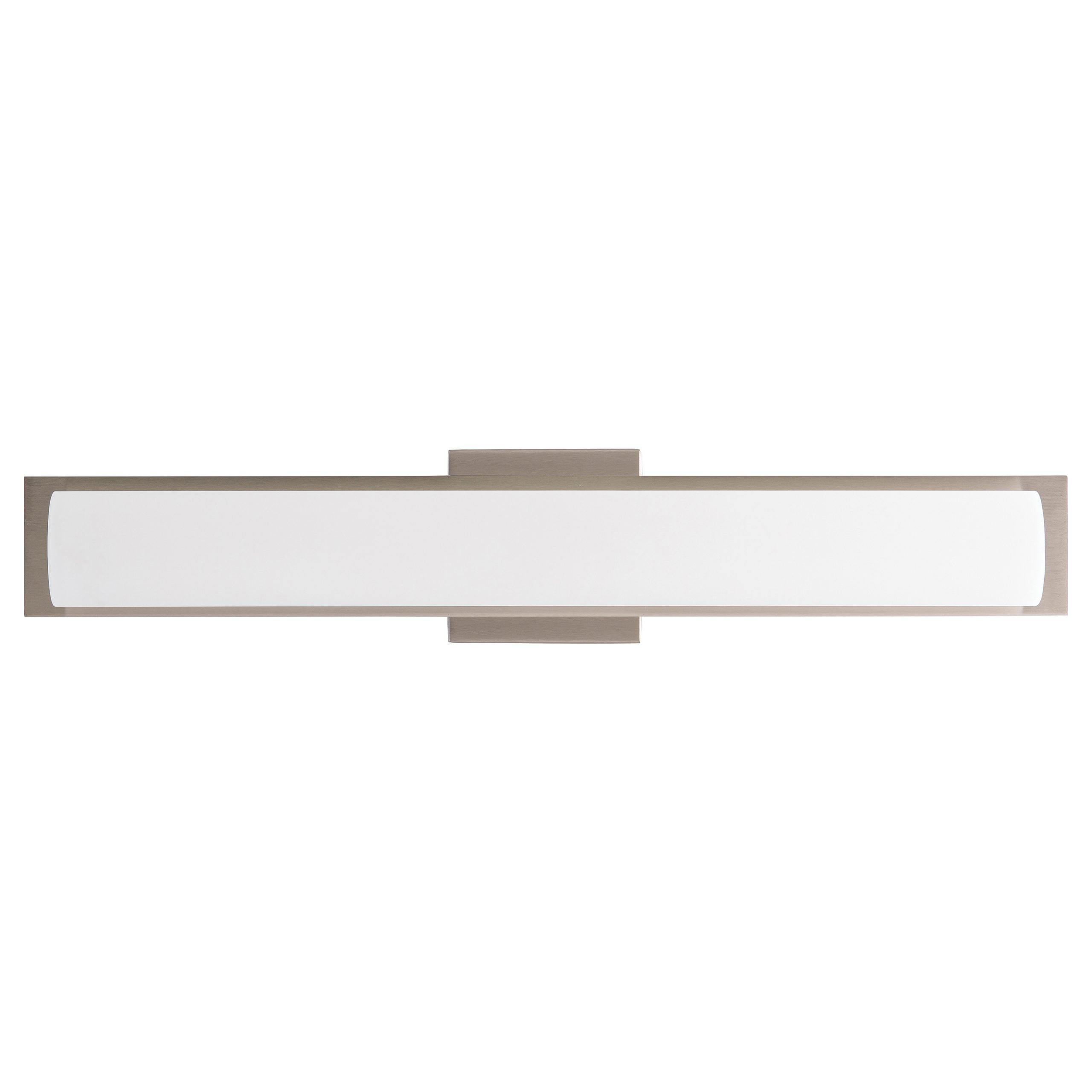 "24""W Brushed Nickel Vanity Light with Frosted Glass Shade & Integrated LED"