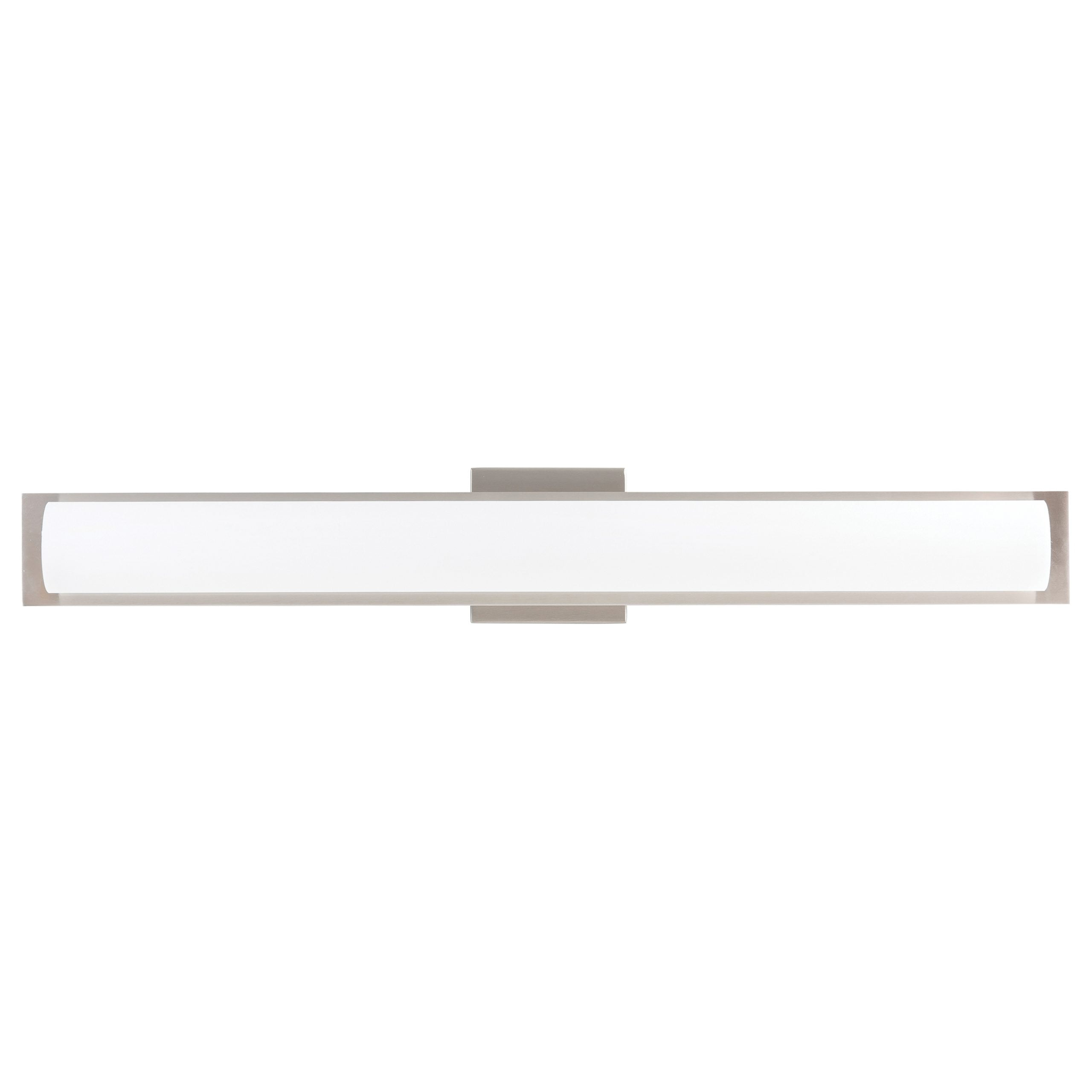 "30""W Brushed Nickel Vanity Light with Frosted Glass Shade & Integrated LED"