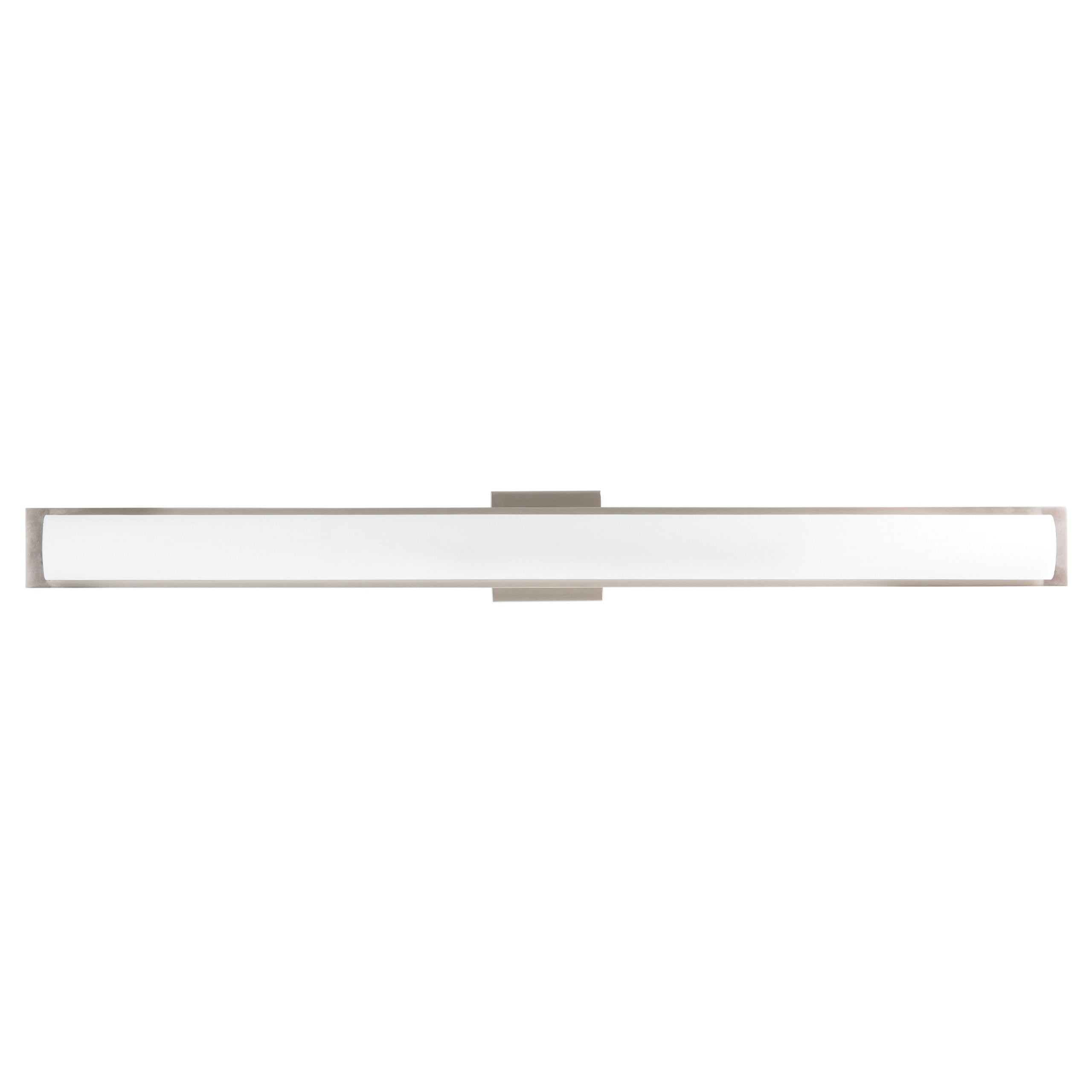 "42""W Brushed Nickel Vanity Light with Frosted Glass Shade & Integrated LED"
