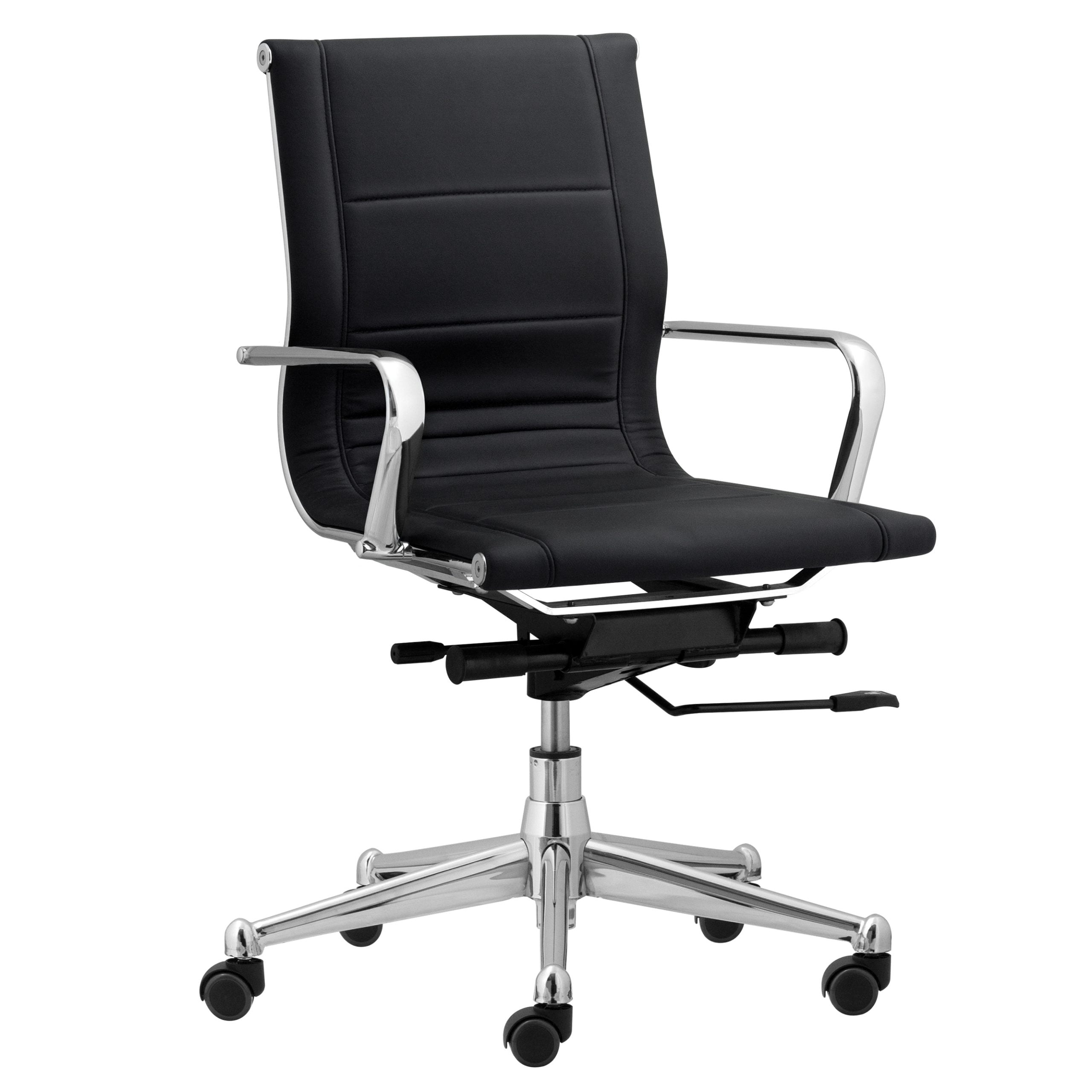 Florence Mid Back Task Chair with Metal Arms - Black
